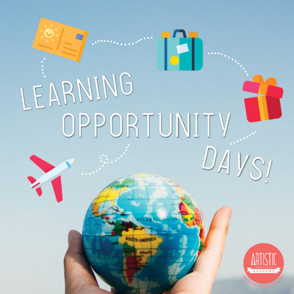 Light blue background blending into white at the bottom. Title in white capitalised letters, 'Learning Opportunity Days!' floating diagonally down to the right corner. Travel symbols--envelope, luggage, gift box--floating above the title. Aeroplane on bottom left of title. Bottom half of image is a hand holding a globe, face showing continent of Africa. Artistic Strategies Academy logo in coral at bottom right of image.