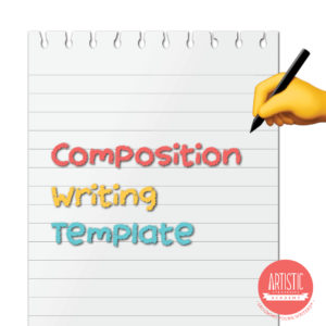 Image of white note pad and digitally drawn hand holding a pen, with the title 'Composition Writing Template' in the company's signature colours: coral pink, yellow and cyan blue. Artistic Strategies Academy logo at bottom right corner.