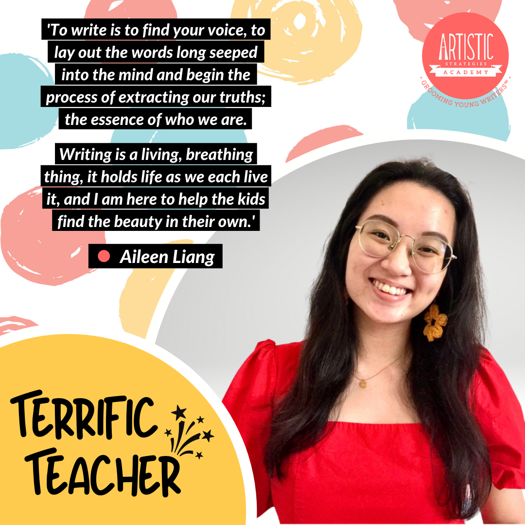 Quote: 'To write is to find your voice, to lay out the words long seeped into the mind and begin the process of extracting our truths; the essence of who we are. Writing is a living, breathing thing, it holds life as we each live it, and I am here to help the kids find the beauty in their own.' by Teacher Aileen Liang, wearing metal framed glasses and a red dress with fluffy 3/4 sleeves, a large flower earring revealed on her left ear through her long black hair. She is smiling widely.