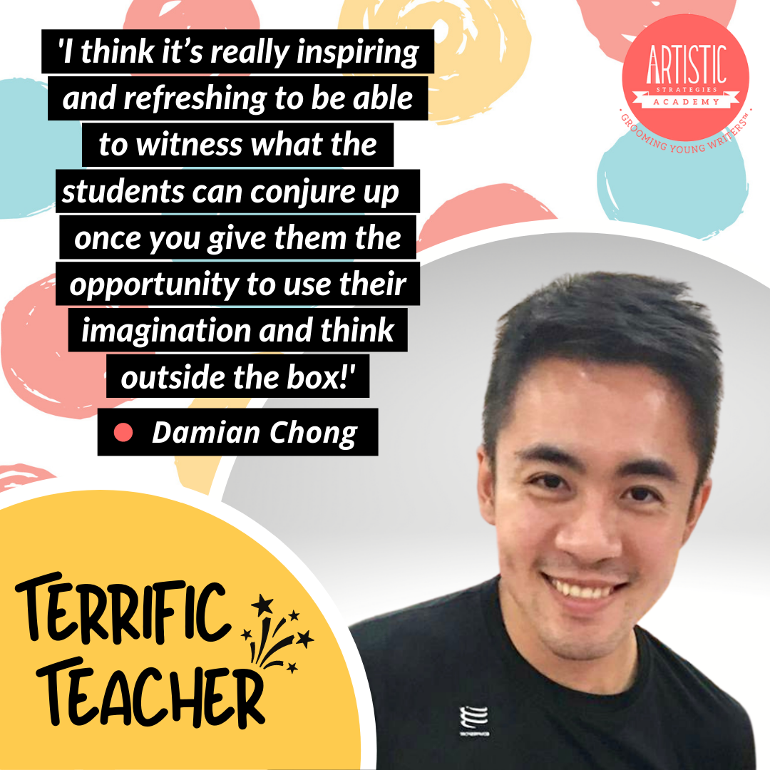 Quote: 'I think it's really inspiring and refreshing to be able to witness what the students can conjure up  once you give them the opportunity to use their imagination and think outside the box!' By teacher Damian Chong who has short black hair and wearing a black crew neck t-shirt and a wide smile