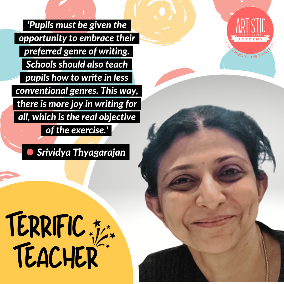 Quote: 'Pupils must be given the opportunity to embrace their preferred genre of writing. Schools should also teach pupils how to write in less conventional genres. This way, there is more joy in writing for all, which is the real objective of the exercise.' by teacher Vidya Thyagarajan, who has centre-parted short hair and a dimpled smile. She is wearing a gold necklace and a black tee shirt.